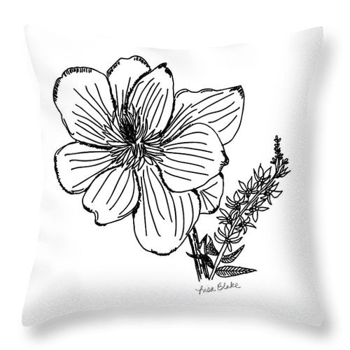 Black Magnolia Throw Pillows