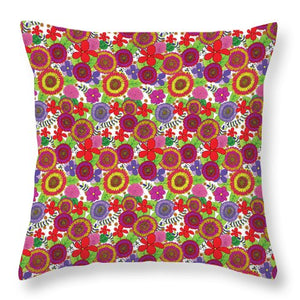 Bright And Cheery Floral Pattern Throw Pillows