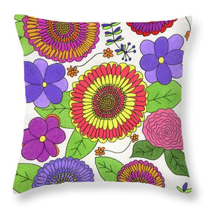 Bright And Cheery Flowers Throw Pillows