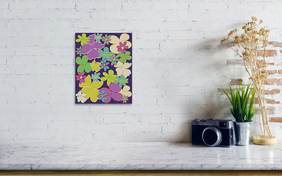 Bright Blooms on Dark Purple Art Print