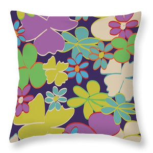 Bright Blooms On Dark Purple Throw Pillows