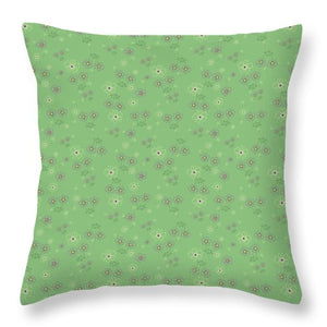 Charming Blooms On Mint Throw Pillows