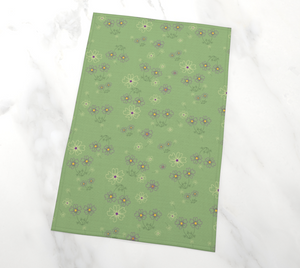 Charming Blooms on Mint Tea Towel