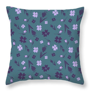 Flowers And Feathers Purple Throw Pillows