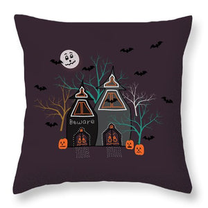 Halloween Haunted Houses Throw Pillows