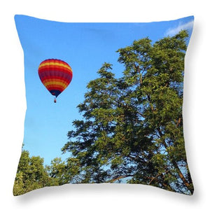 Rainbow Hot Air Balloon Ride Throw Pillows