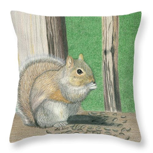 Seedy Squirrel Throw Pillows