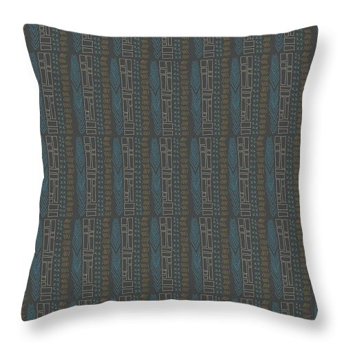 Tribal Teal Feather Throw Pillows