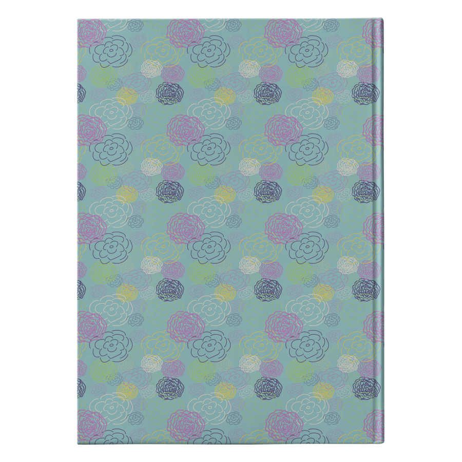Aqua Flower Blooms Hardcover Journal