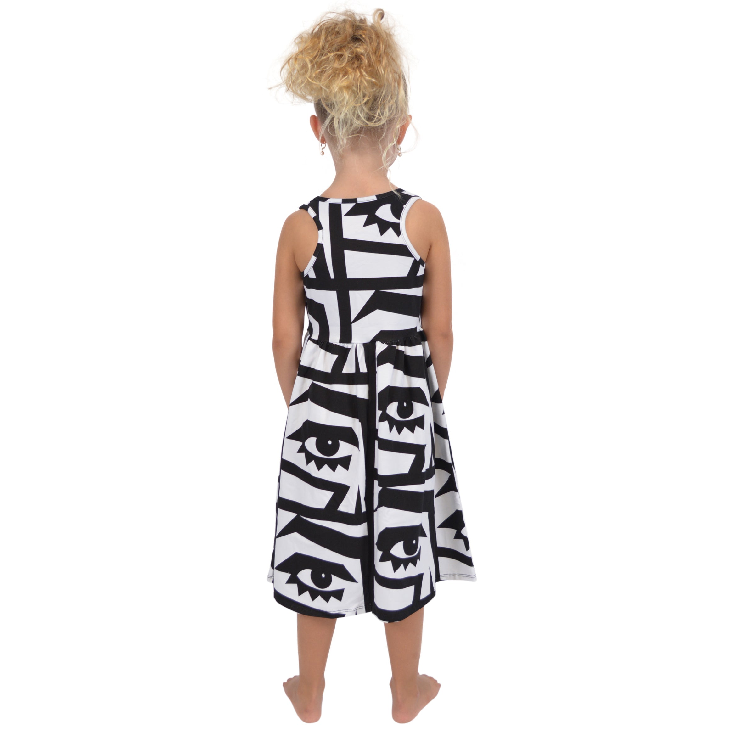 Girl's Print Racerback Tank Below The Knee Length Midi Dress