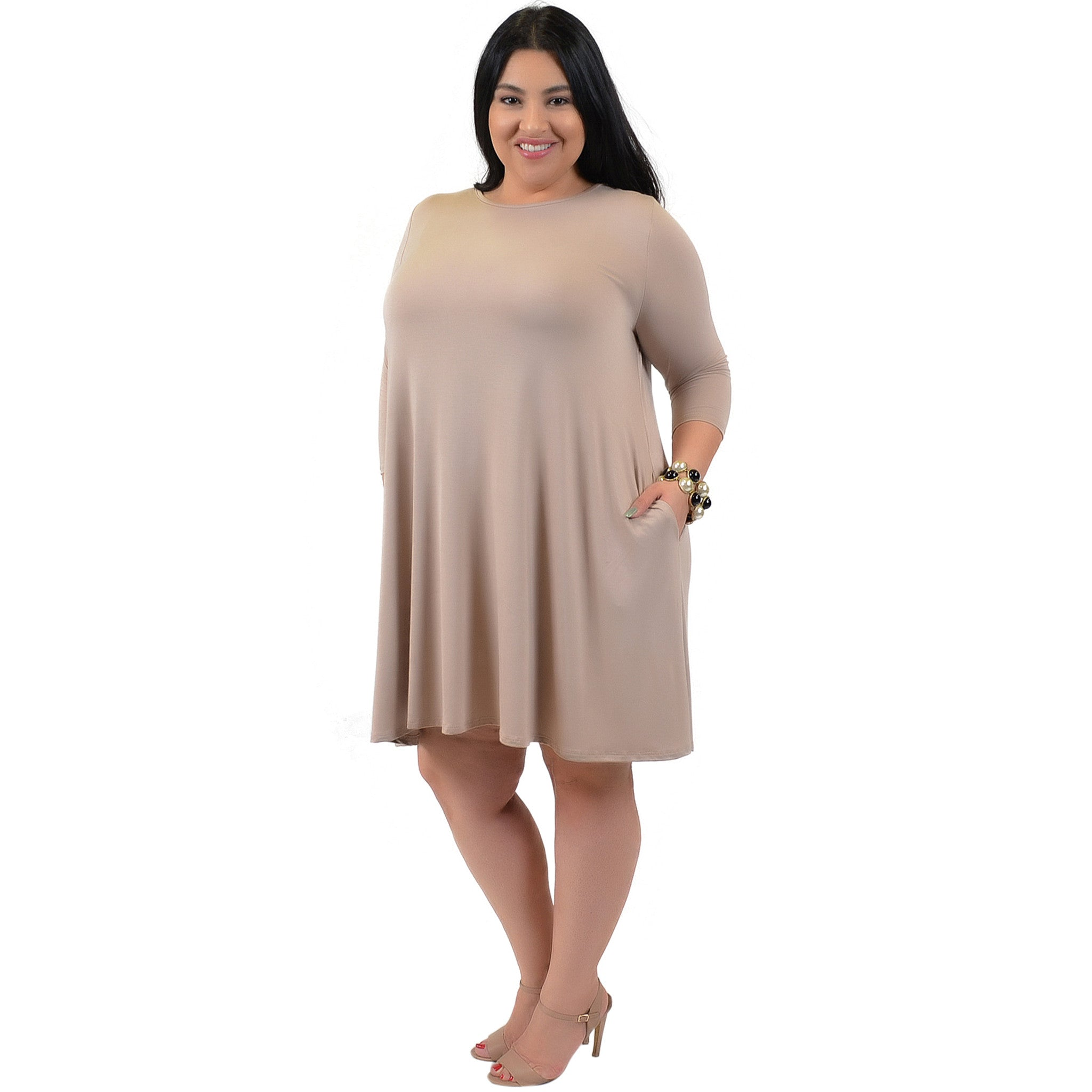 Plus Size Three Quarter Sleeve Flowy Tunic Pocket Dress