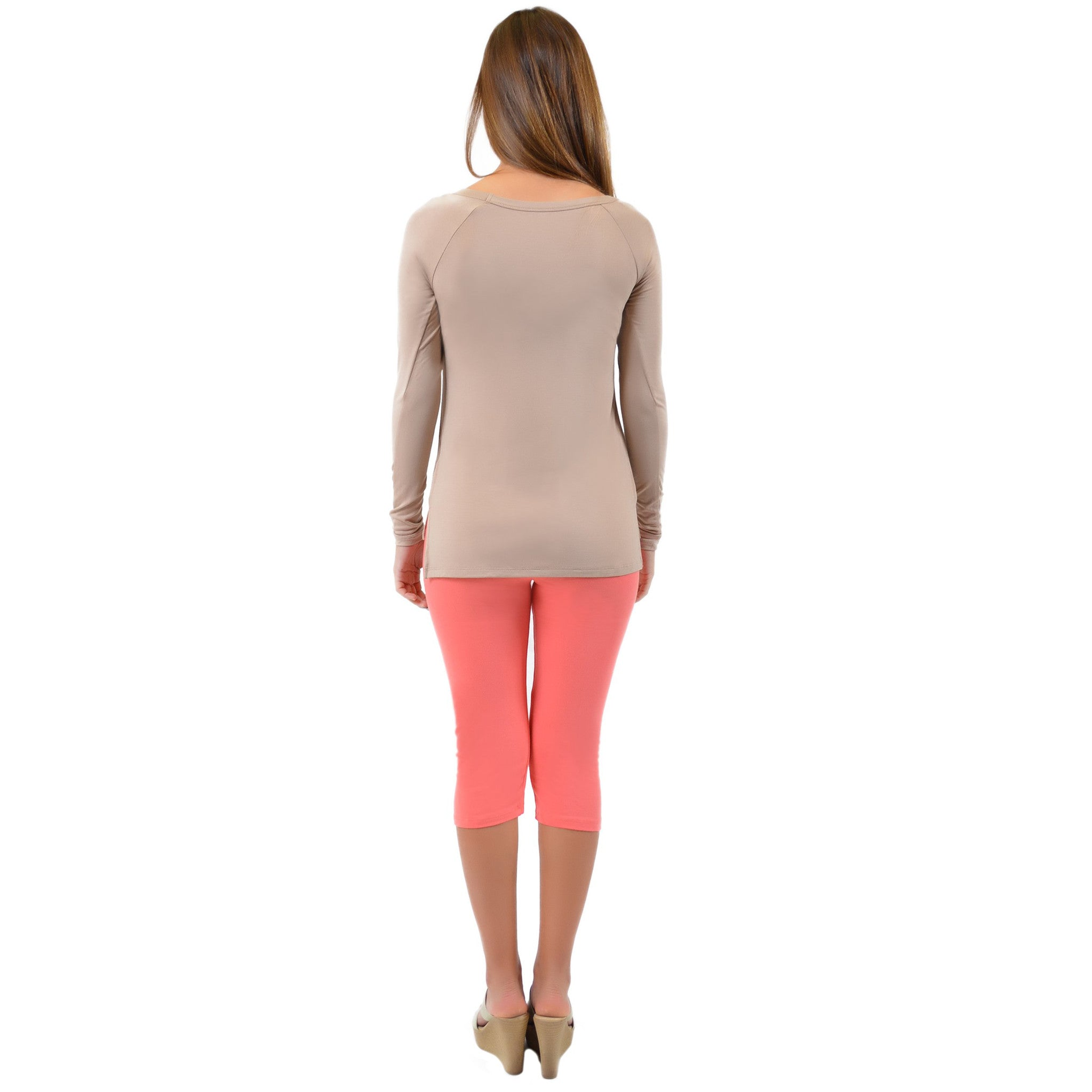 Plus Size Long Sleeve Wide Neck Top