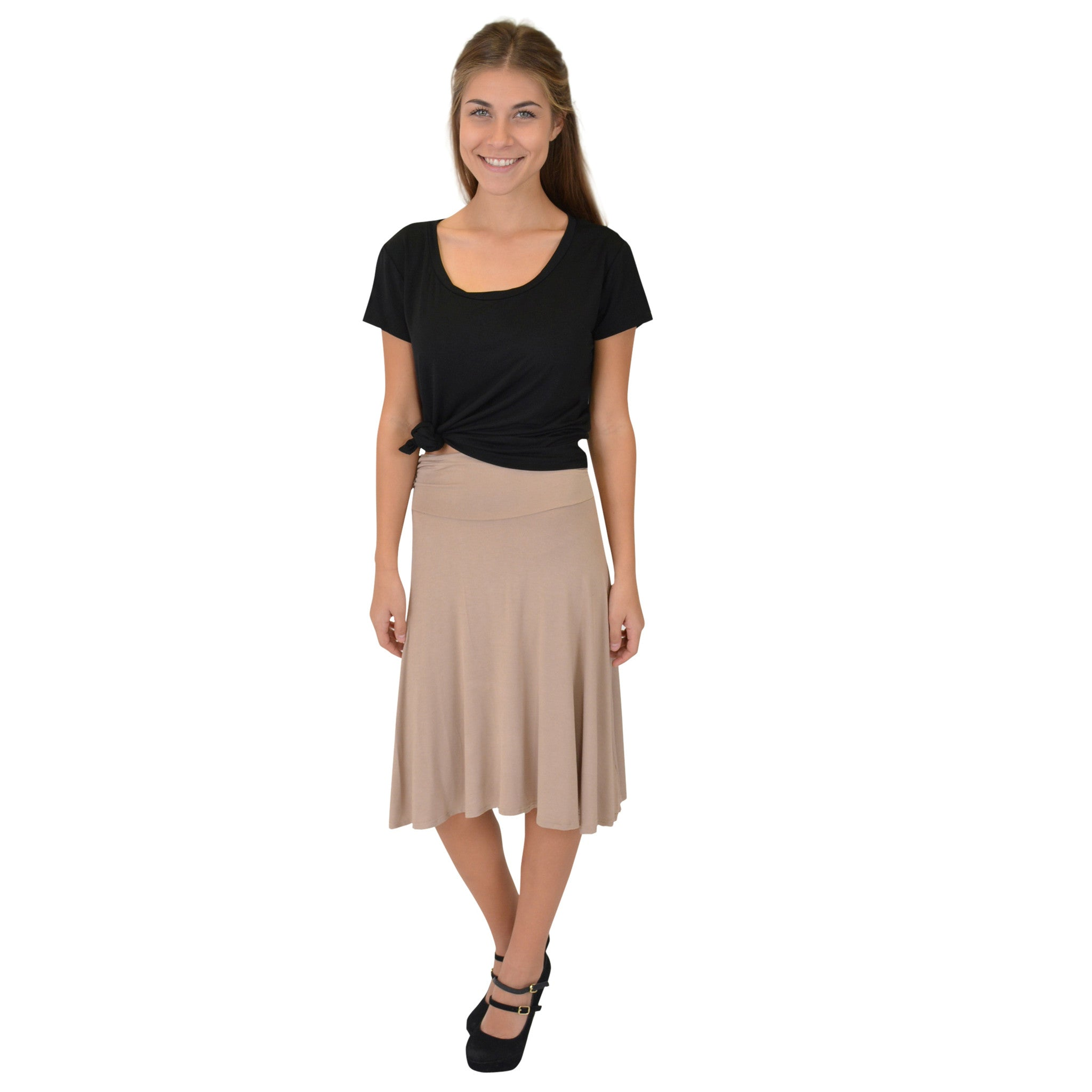 Women's Knee Length Flowy Skirt