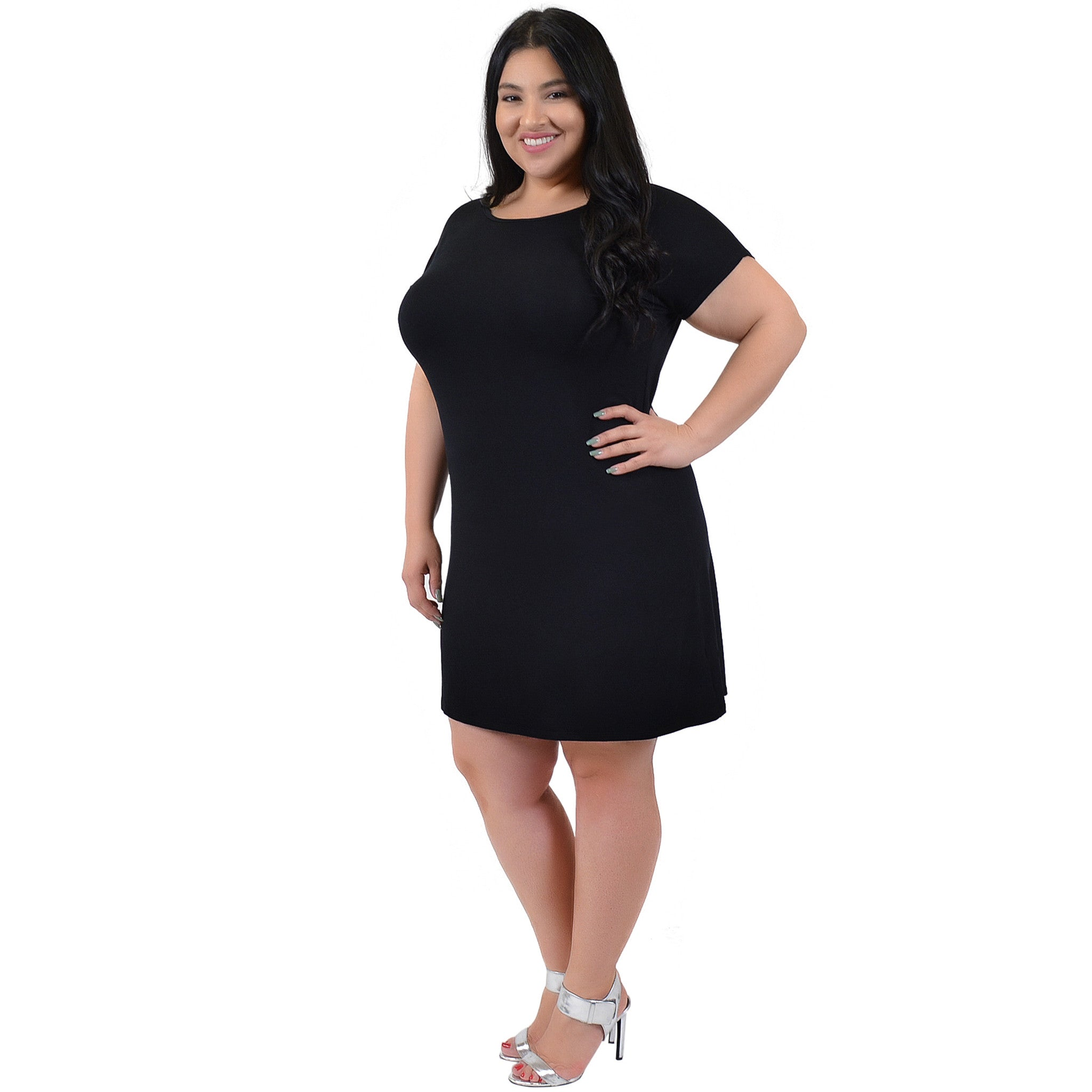 Plus Size Short Sleeve Boatneck Shift Dress