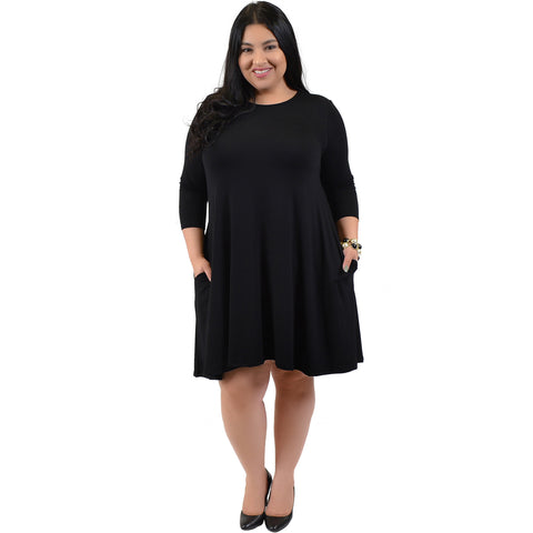 Plus Size ¾ Flowy Tunic Pocket Dress