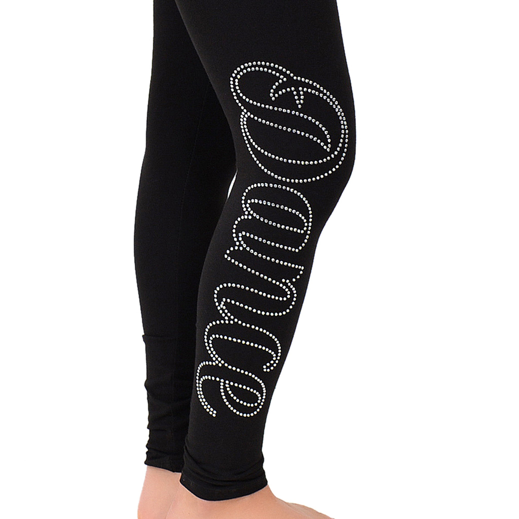 Women's Dance Rhinestone Foldover Cotton Leggings