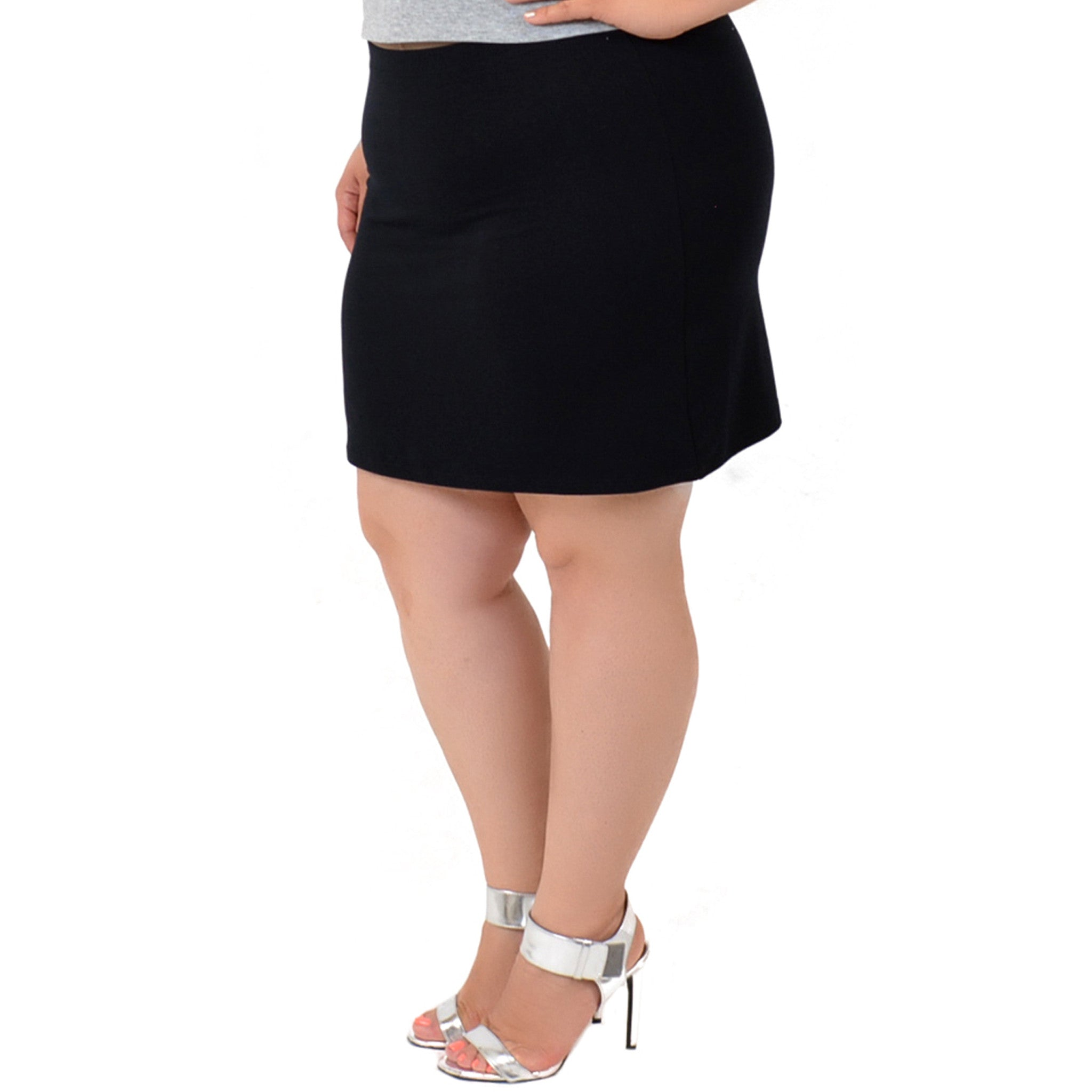 Plus Size Cotton, Metallic and Print Basic Mini Skirt