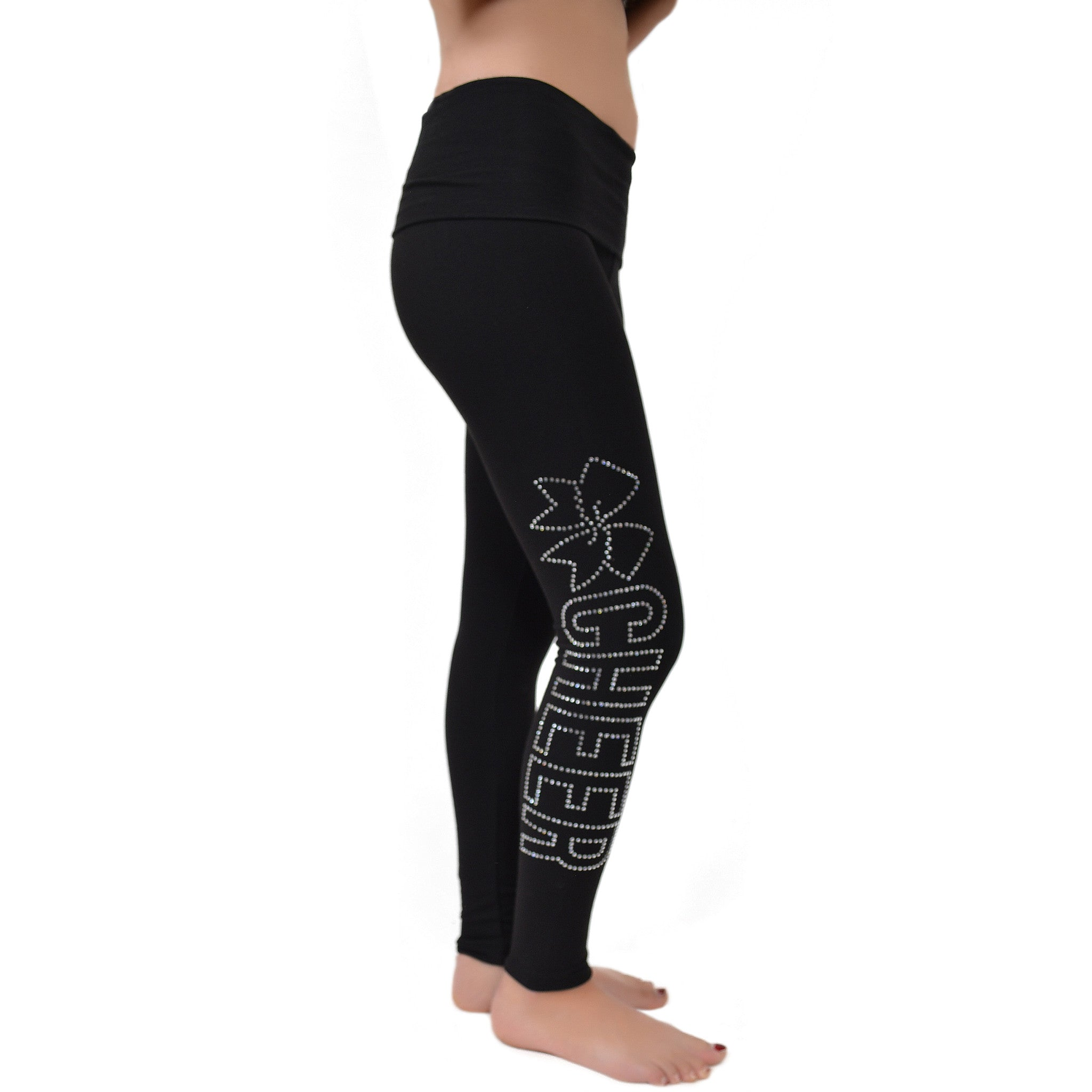 Women's Cheer Rhinestone Foldover Cotton Leggings