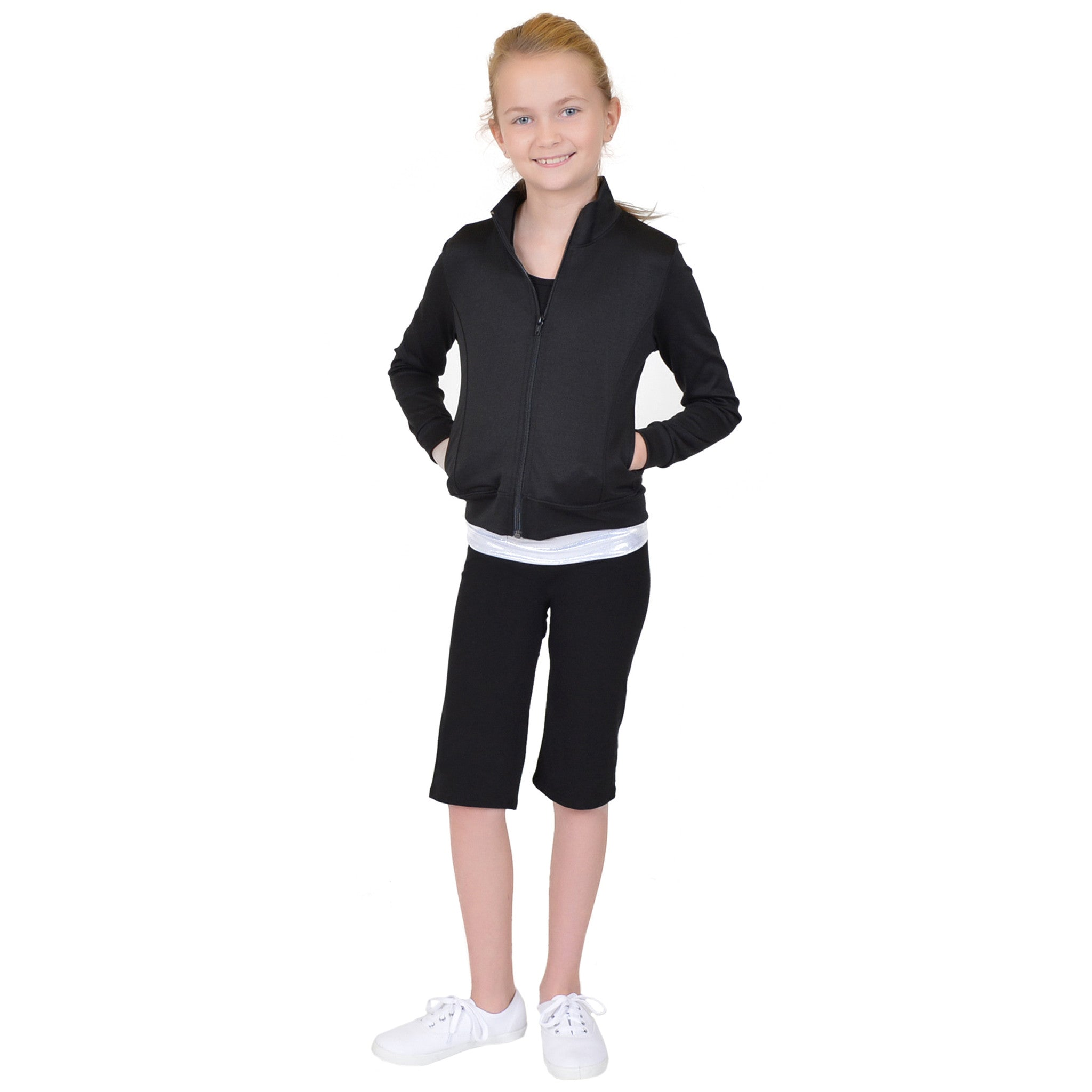 Girl's Rayon/Poly/Spandex Cadet Warm Up Jacket