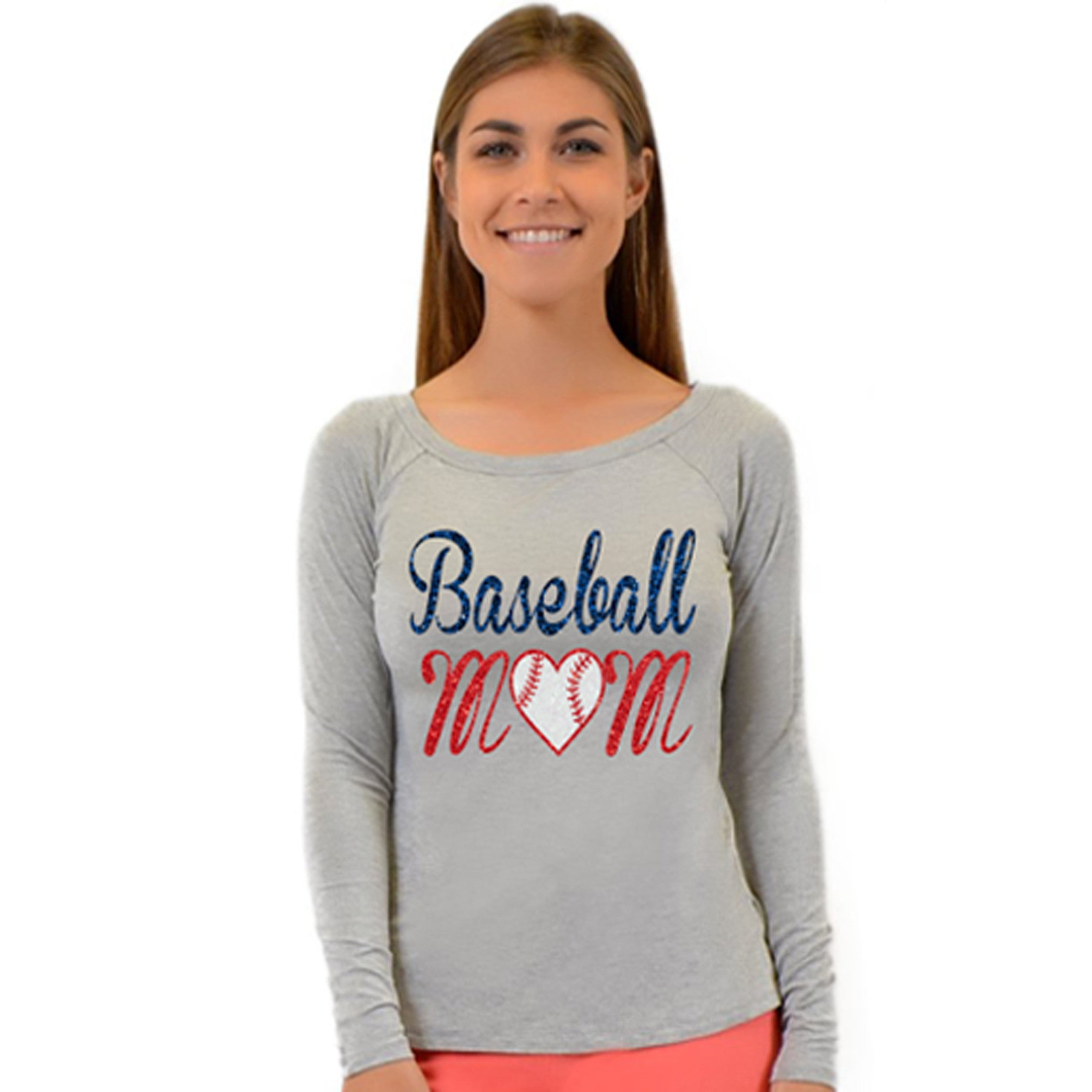Plus Size Long Sleeve Baseball Mom Top