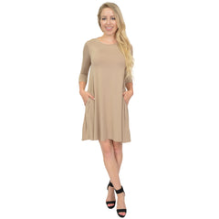 Women's Three Quarter Sleeve Flowy Tunic Pocket Dress