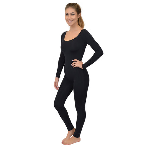 Women's Long Sleeve Scoop Neck Nylon Unitard