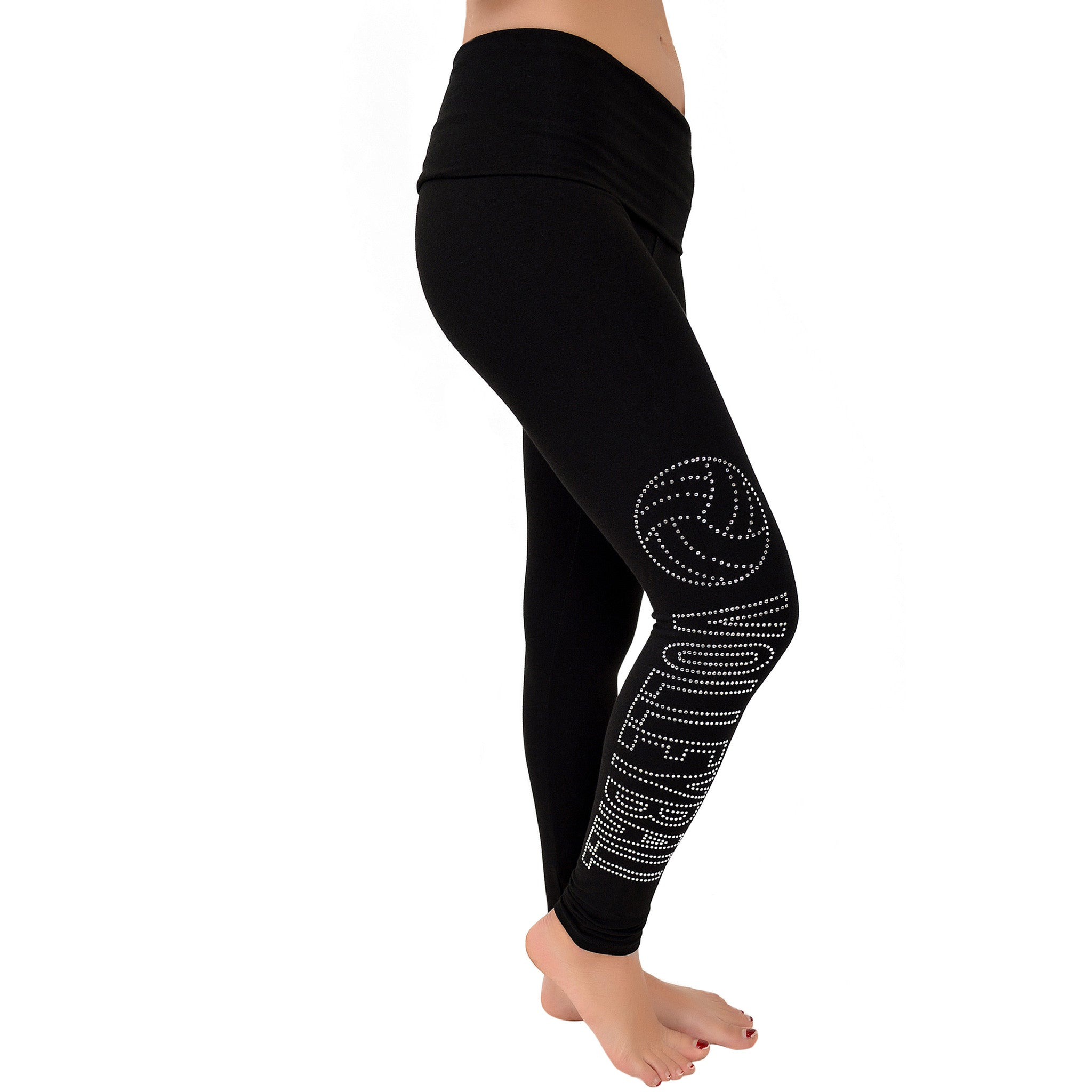 Women's Volleyball Rhinestone Foldover Cotton Leggings