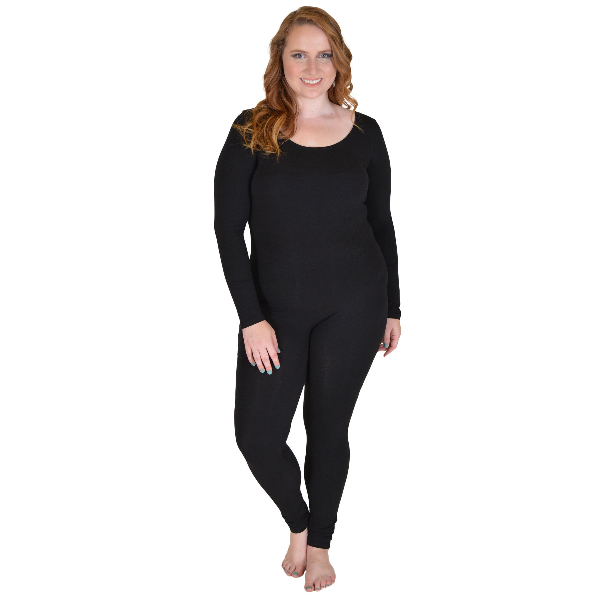 Plus Size Cotton Long Sleeve Unitard
