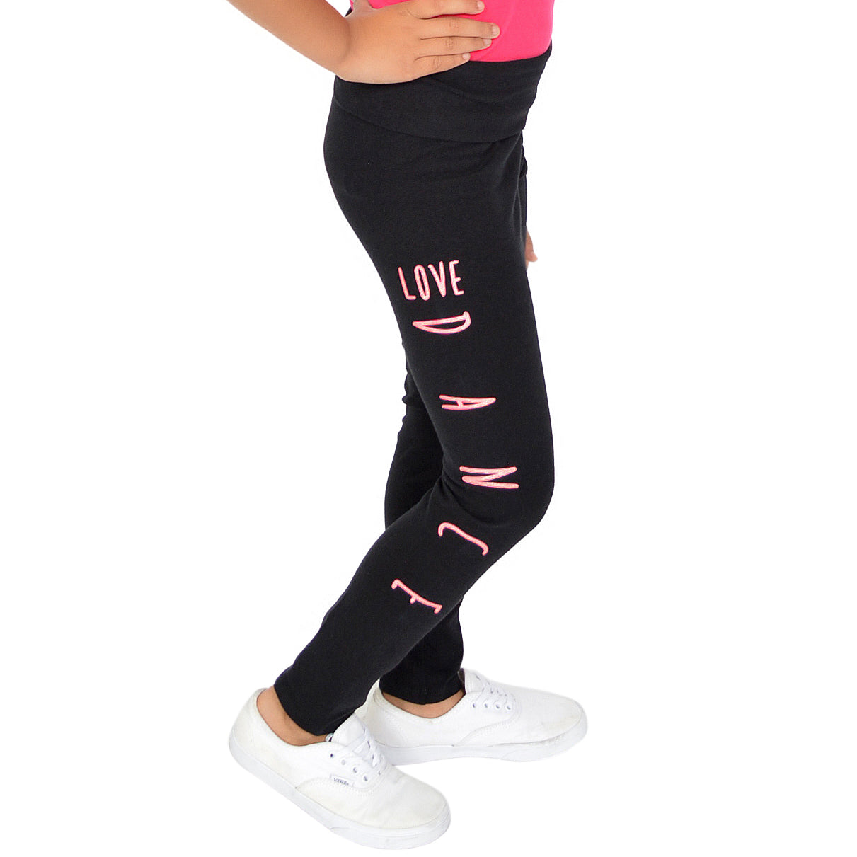 Teamwear Girl's Women's and Plus Size Glitter LOVE DANCE Foldover Leggings