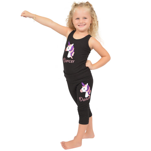 Girl's Unicorn Foldover Capri Leggings