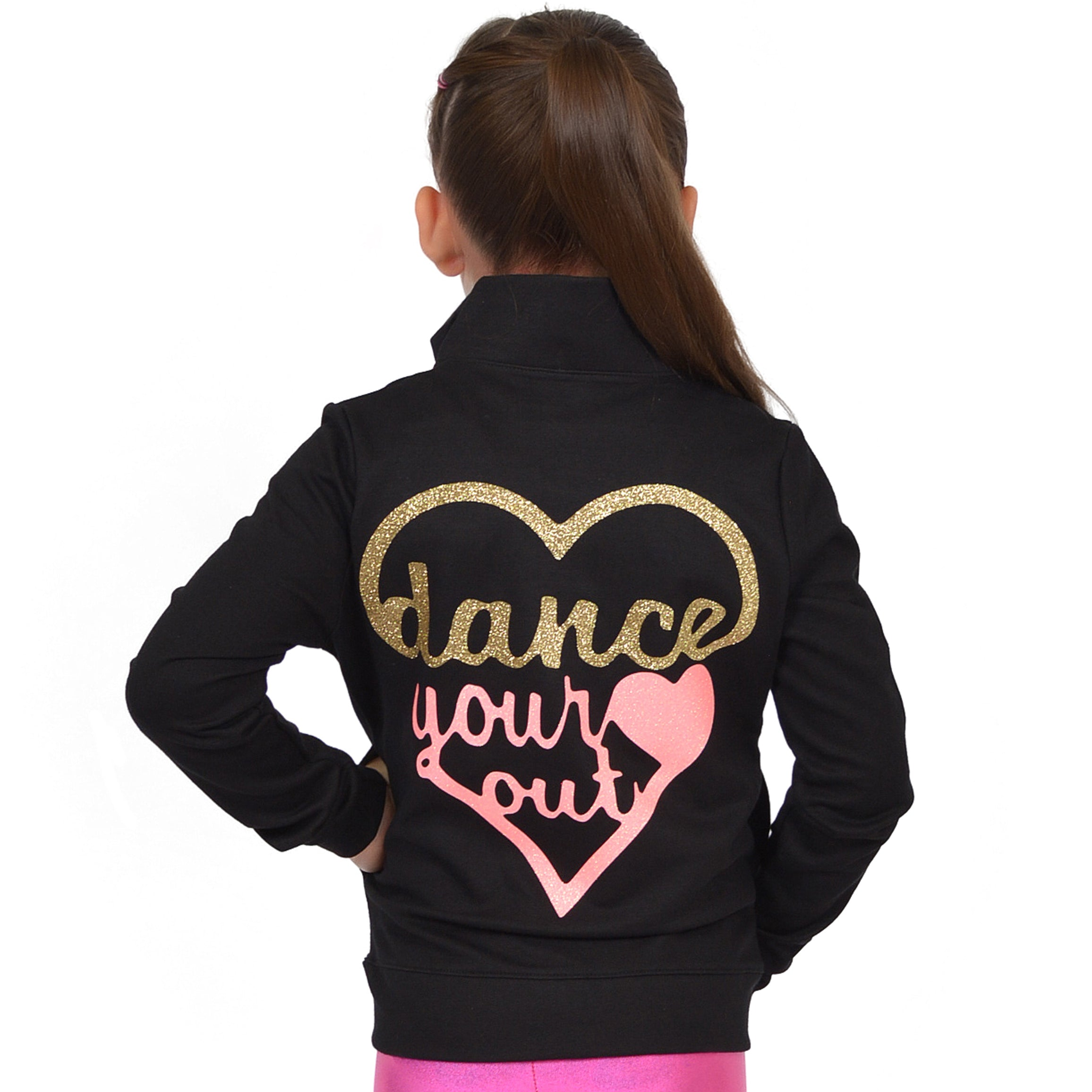 Girl's GLITTER Dance Your Heart Out Warm Up Jacket