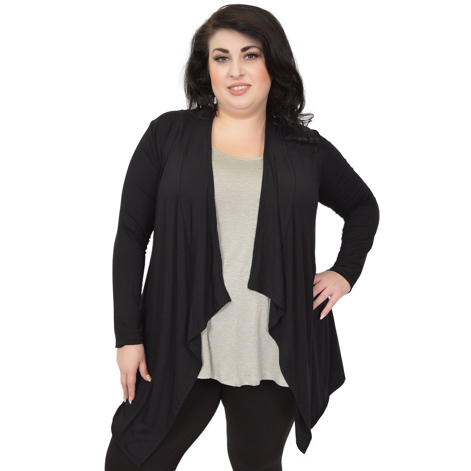 Plus Size Long Sleeve Open Front Drape Ashley Cardigan