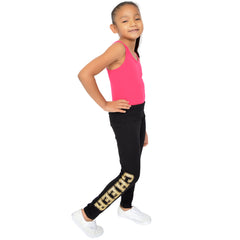 Teamwear Girl's Women's Plus Size Gold Glitter Cheer Spirit Foldover Leggings