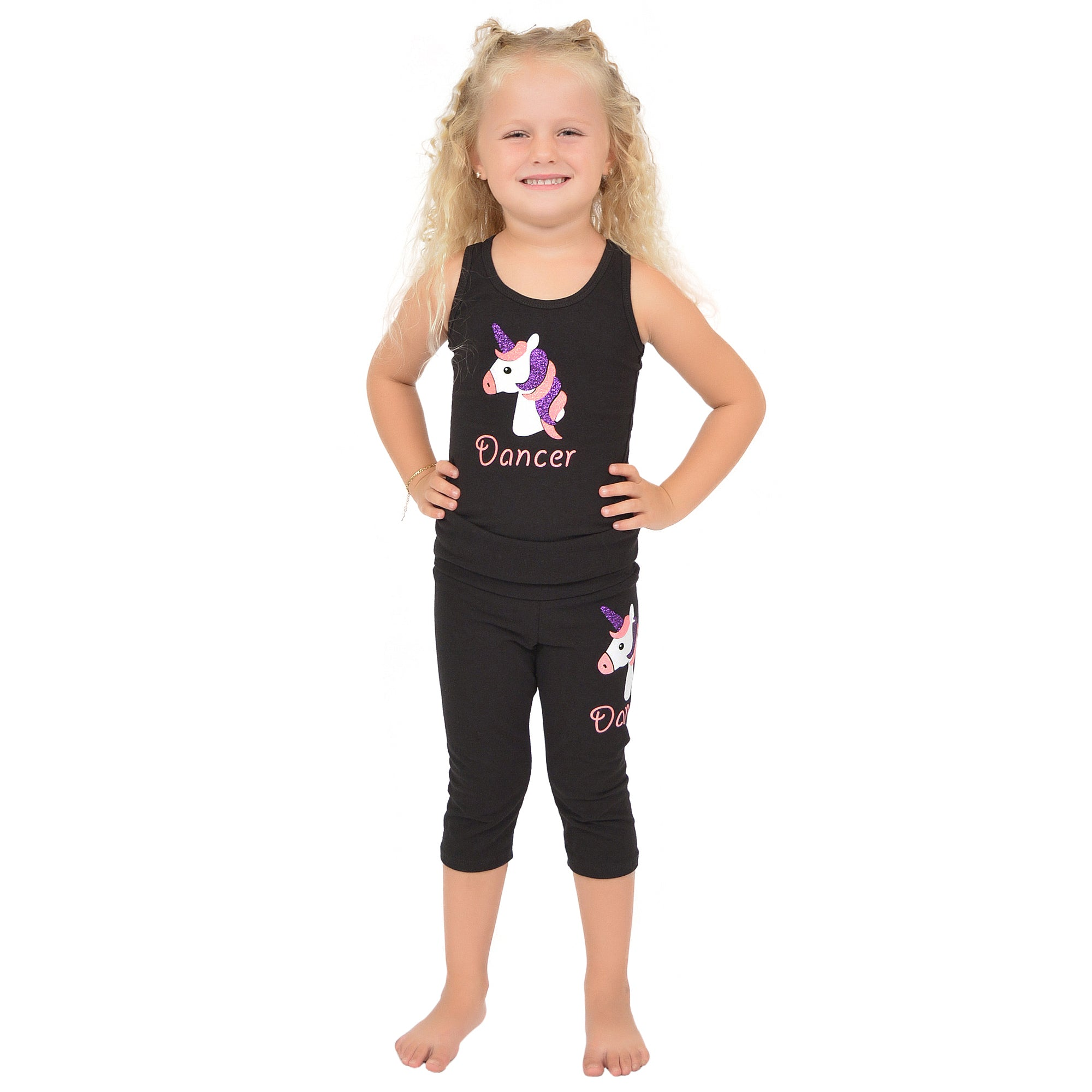 Girl's Cotton Unicorn Sparkly Tank