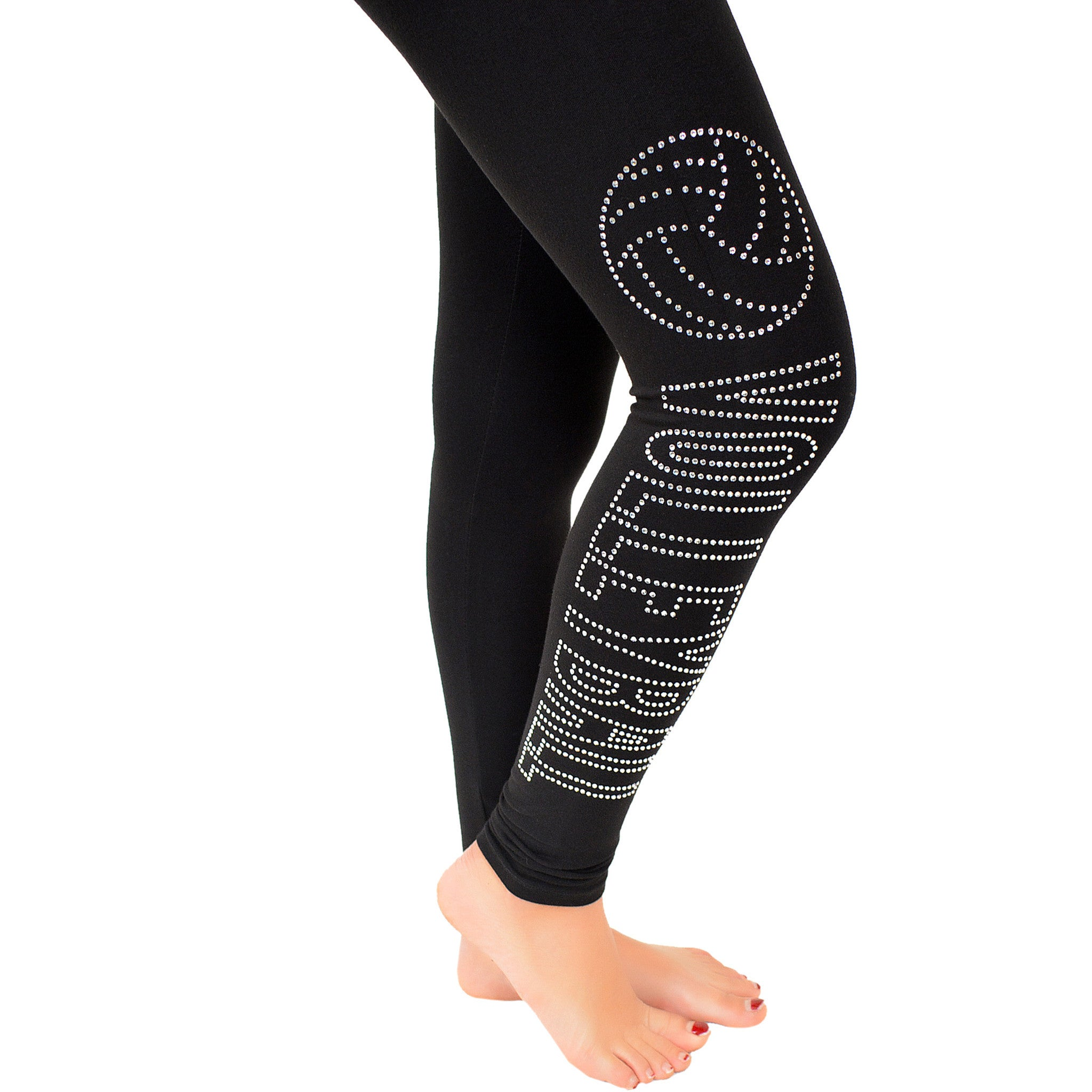 Teamwear Volleyball Rhinestone Foldover Cotton Leggings