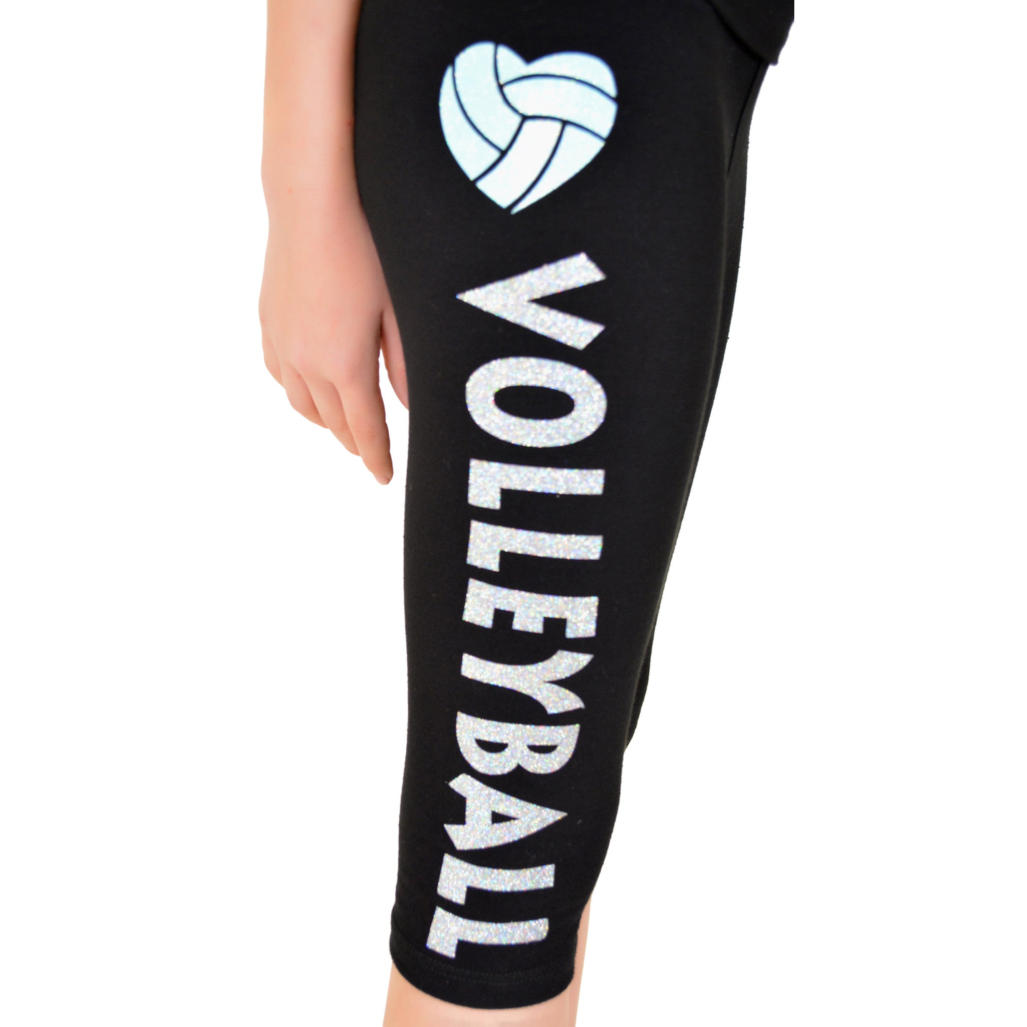 Girl's Heart Volleyball Foldover Capri Leggings Mint Ball