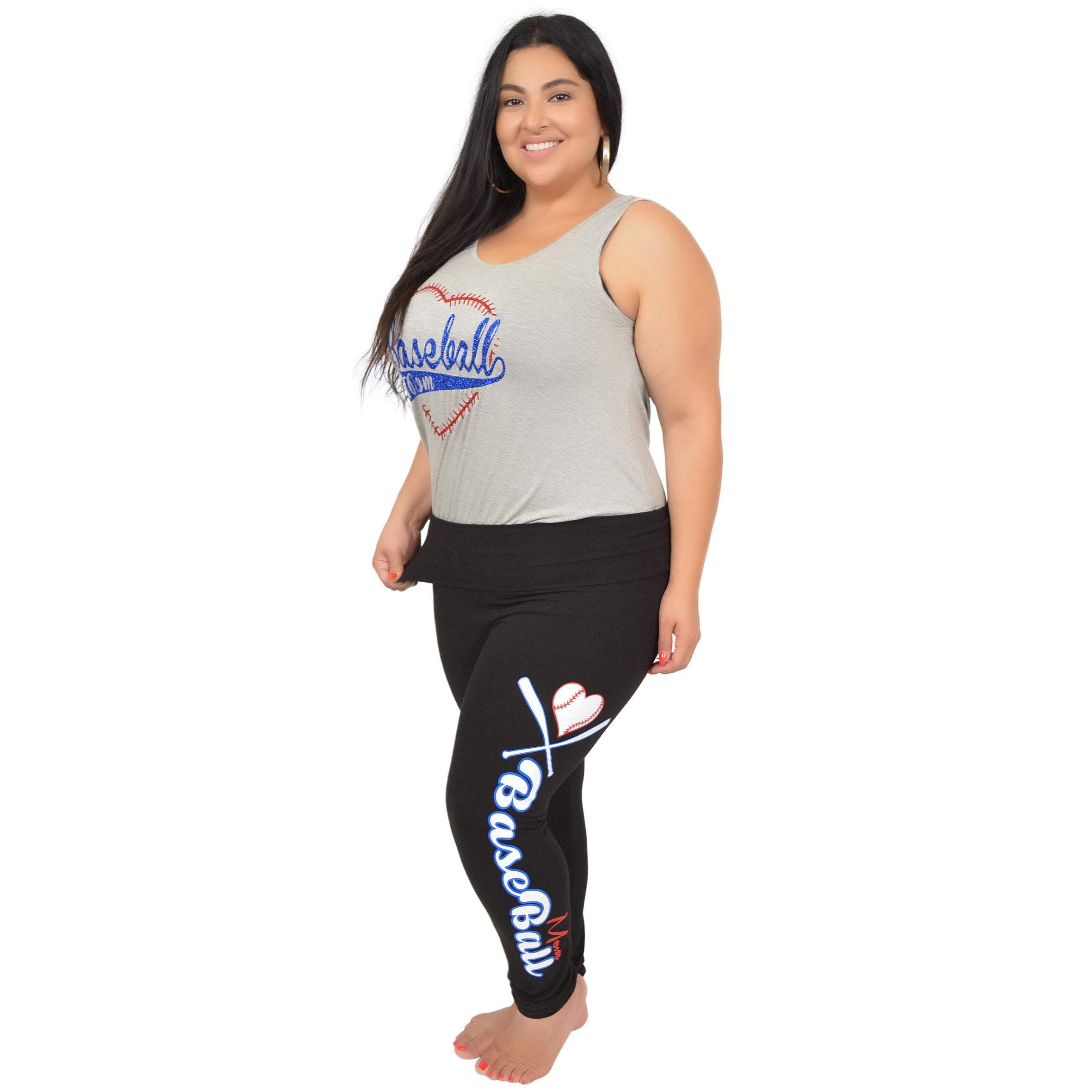 856f9ac8fb2 Kaysees Women s Plus Size BASEBALL MOM Foldover Leggings – Stretch ...