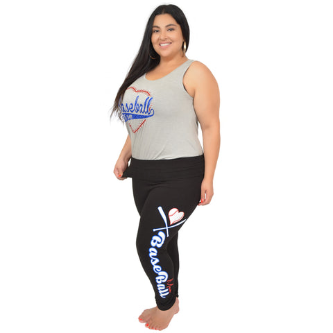 Plus Size BASEBALL MOM Foldover Leggings