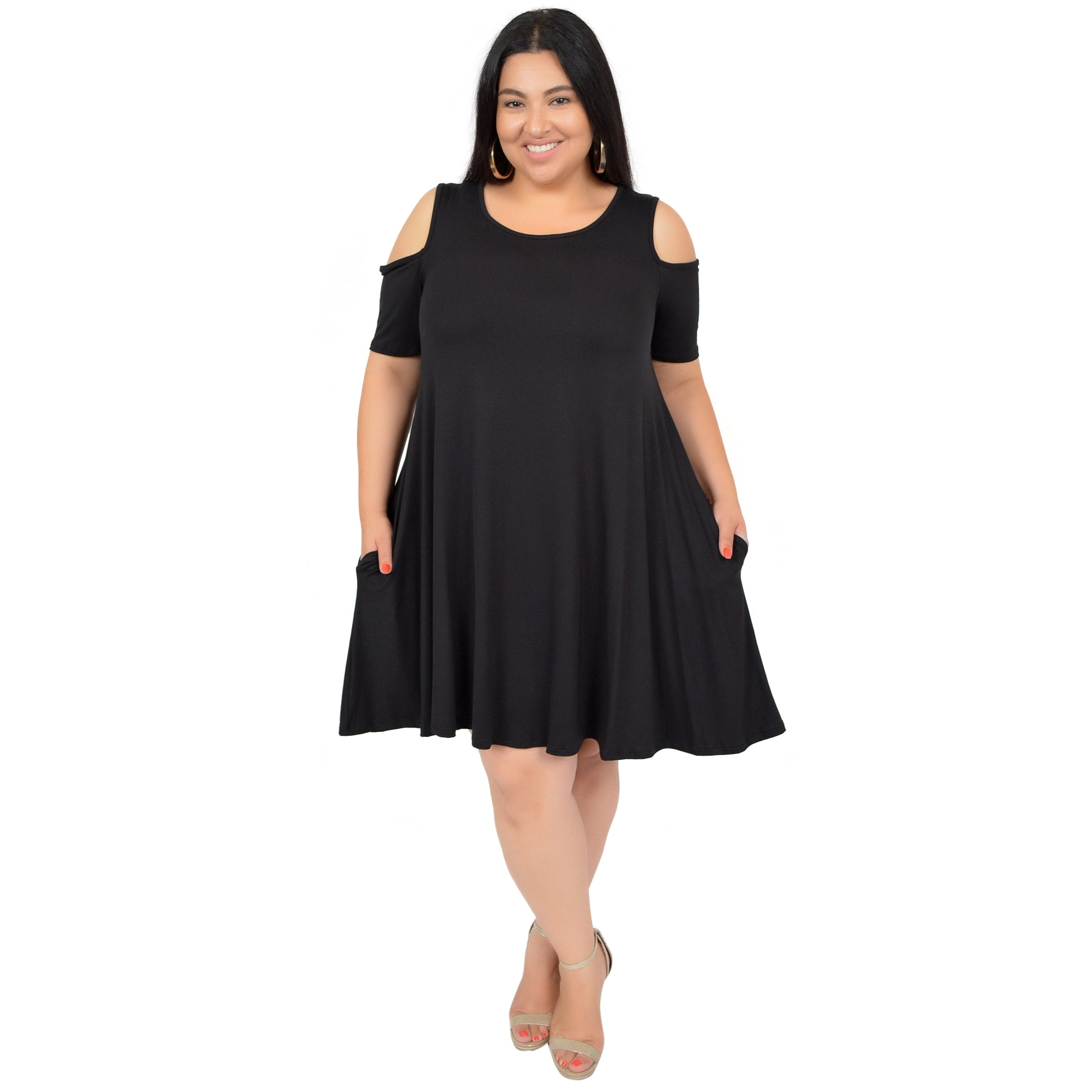 Plus Size Maggie Open Shoulder Short Sleeve Tank Dress