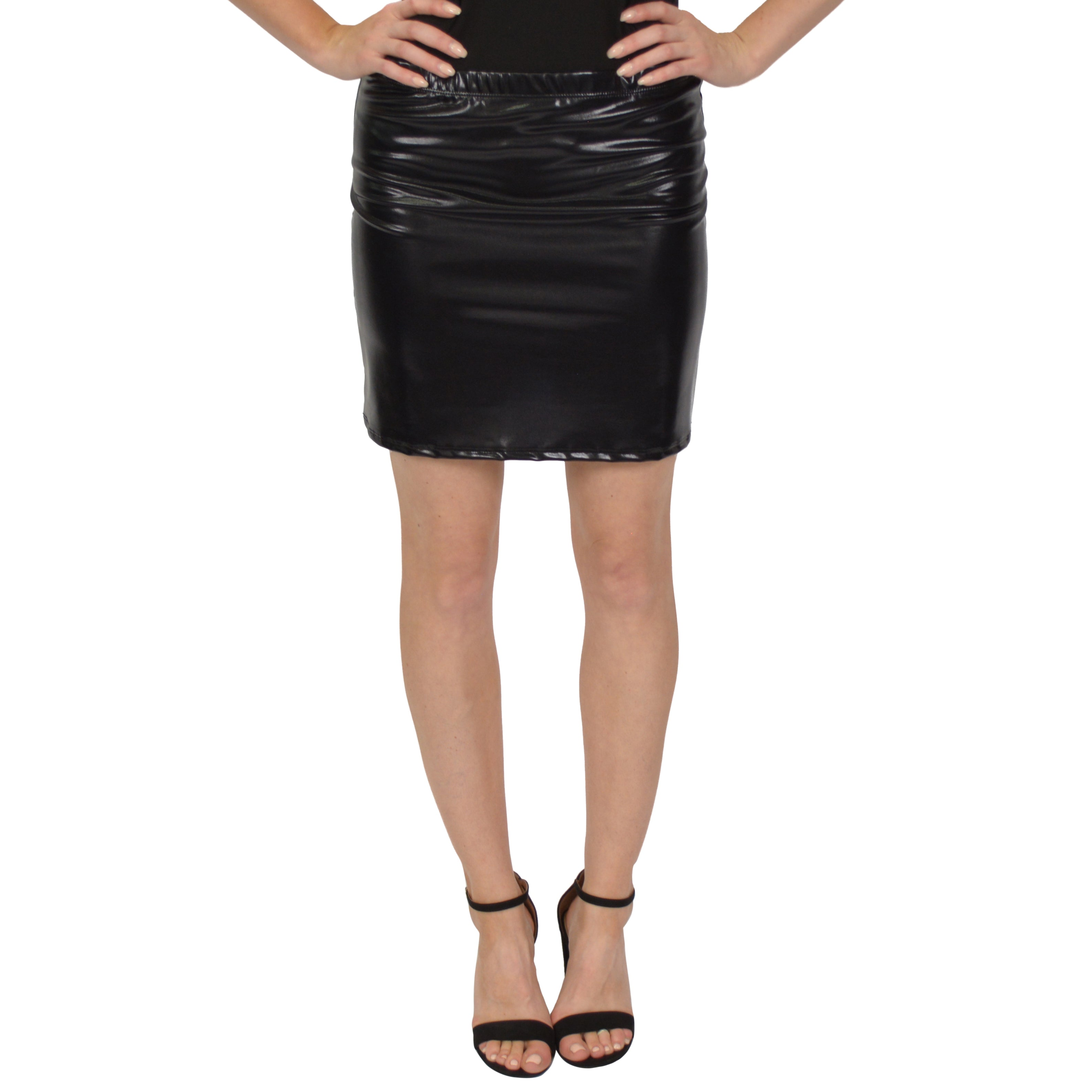 Women's and Plus Size Metallic Basic Mini Skirt