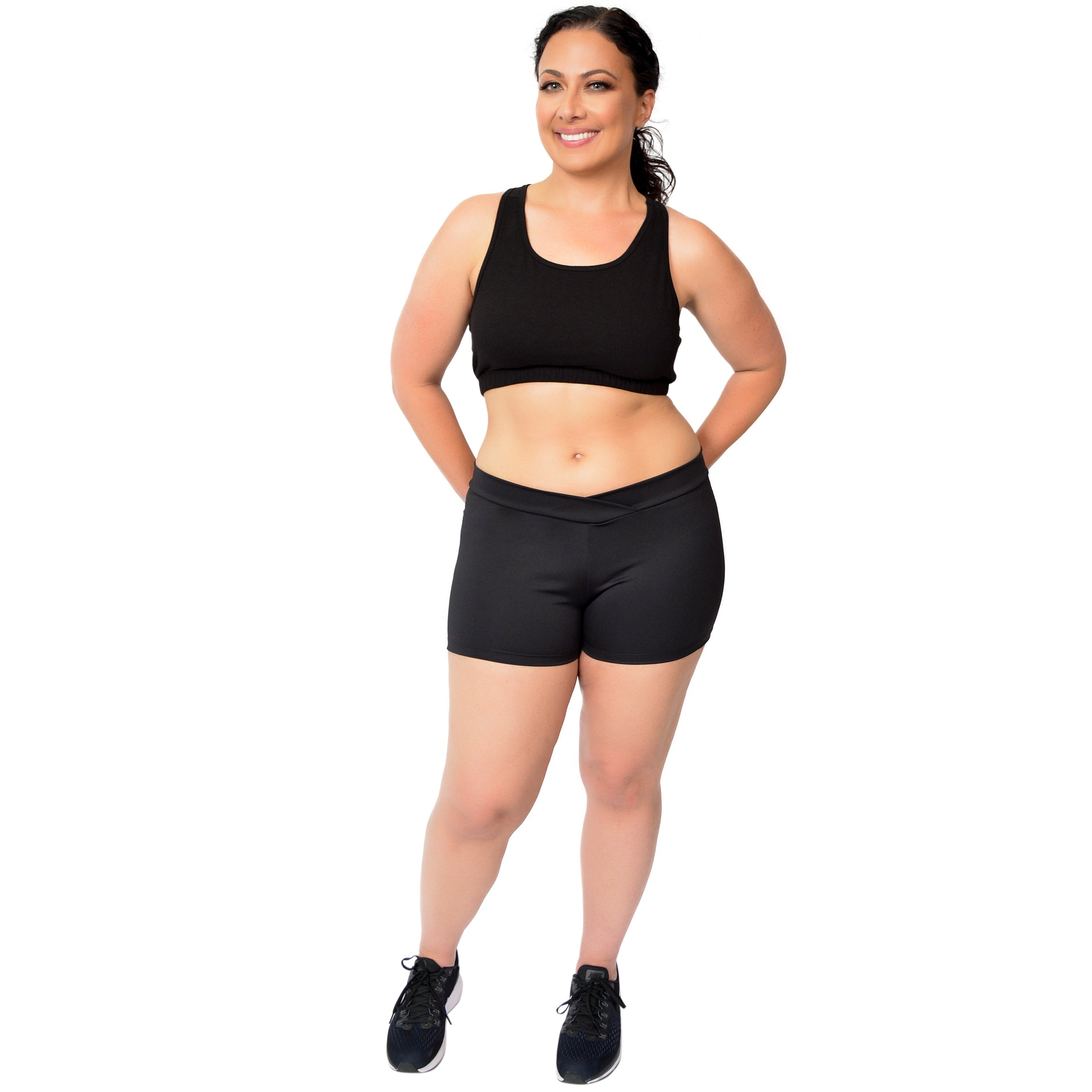 Plus Size V-Waist Performance Polyester Stretch Booty Shorts