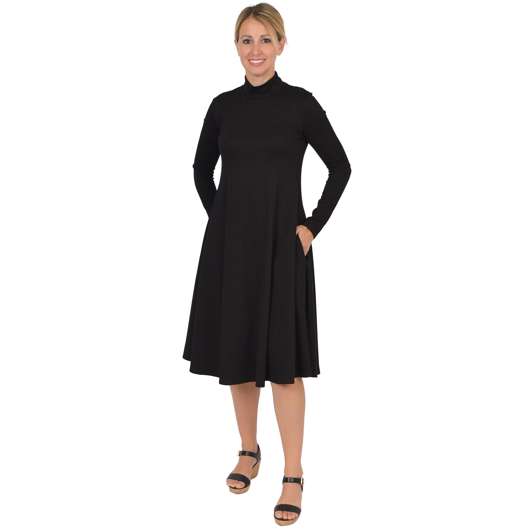 Plus Size Brooklyn Mock Neck Long Sleeve Dress