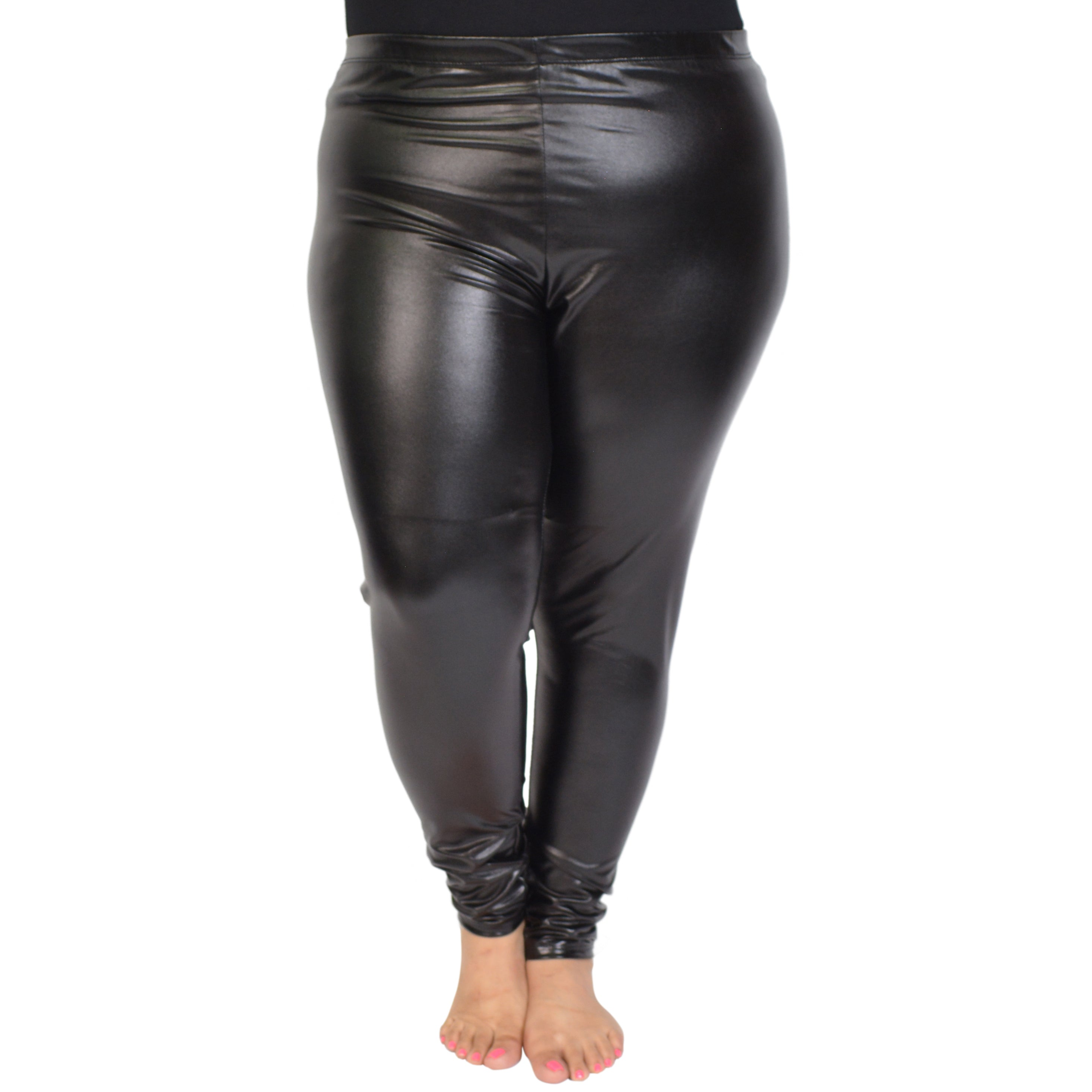 Ladies American Foil Shiny Stretchy Zip Wet Look Metallic Leggings Plus Size