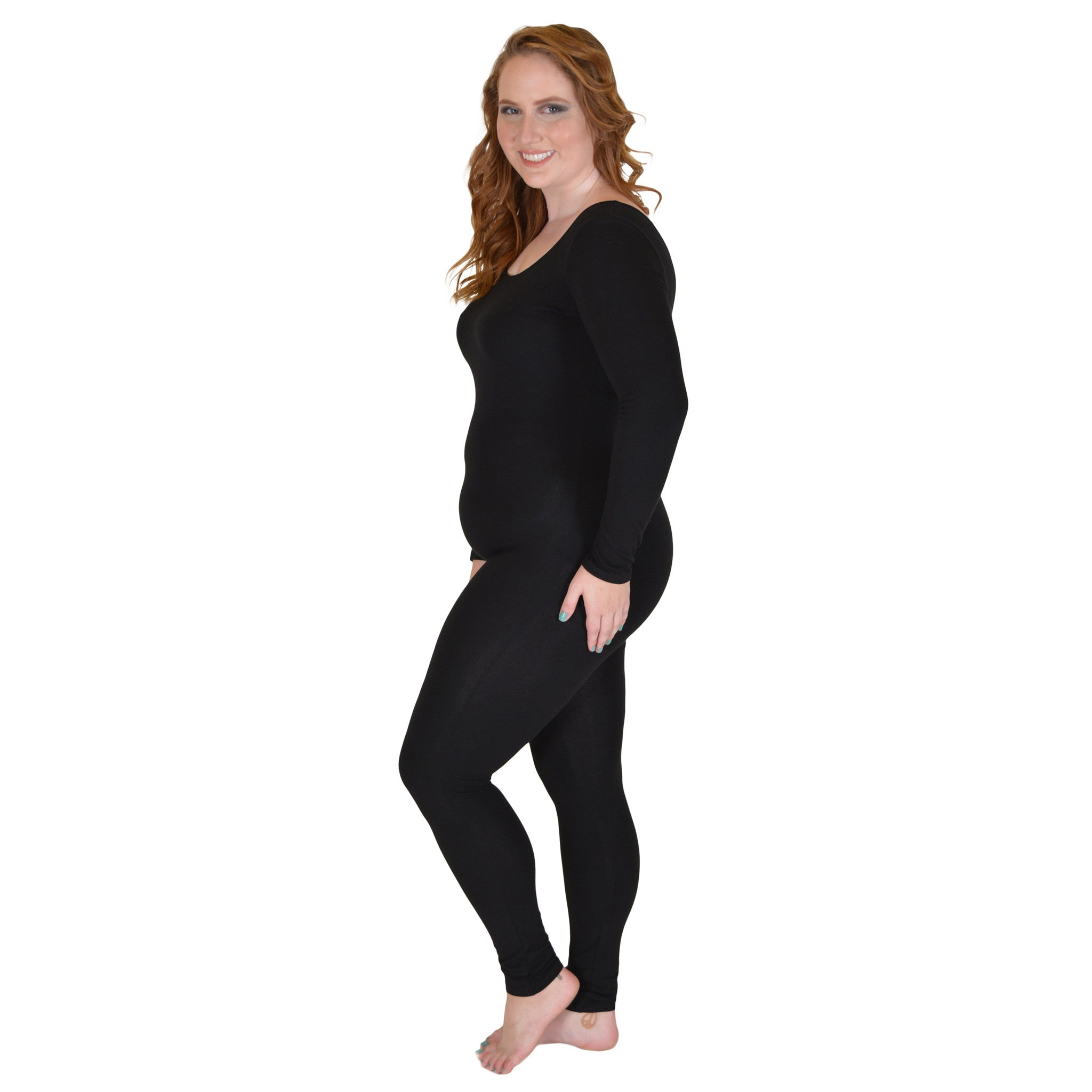 Plus Size Nylon Long Sleeve Unitard