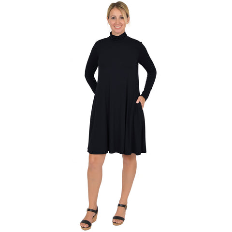 Plus Size Katherine Lightweight Turtleneck Pocket Dress