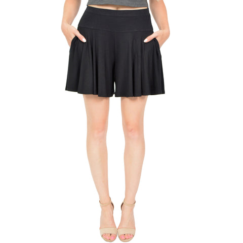 Women's Junior and Plus Size Flowy Skort Wide Leg Shorts (Skirt / Shorts) with Pockets