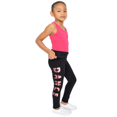 Teamwear Girl's Women's and Plus Size Glitter DANCE Foldover Leggings