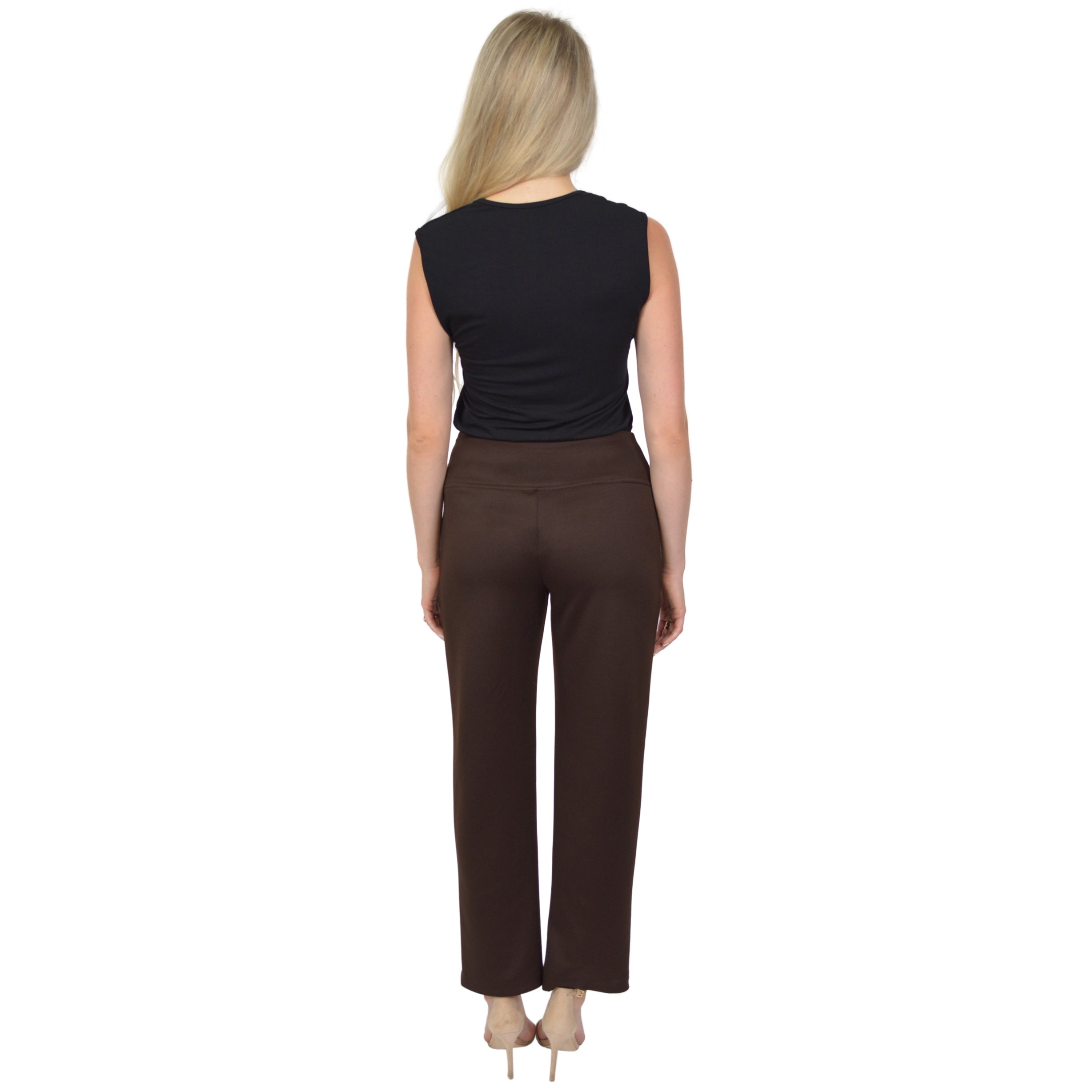 Women's Regular and Plus Size High Waisted Pull on Work Pants with Pockets
