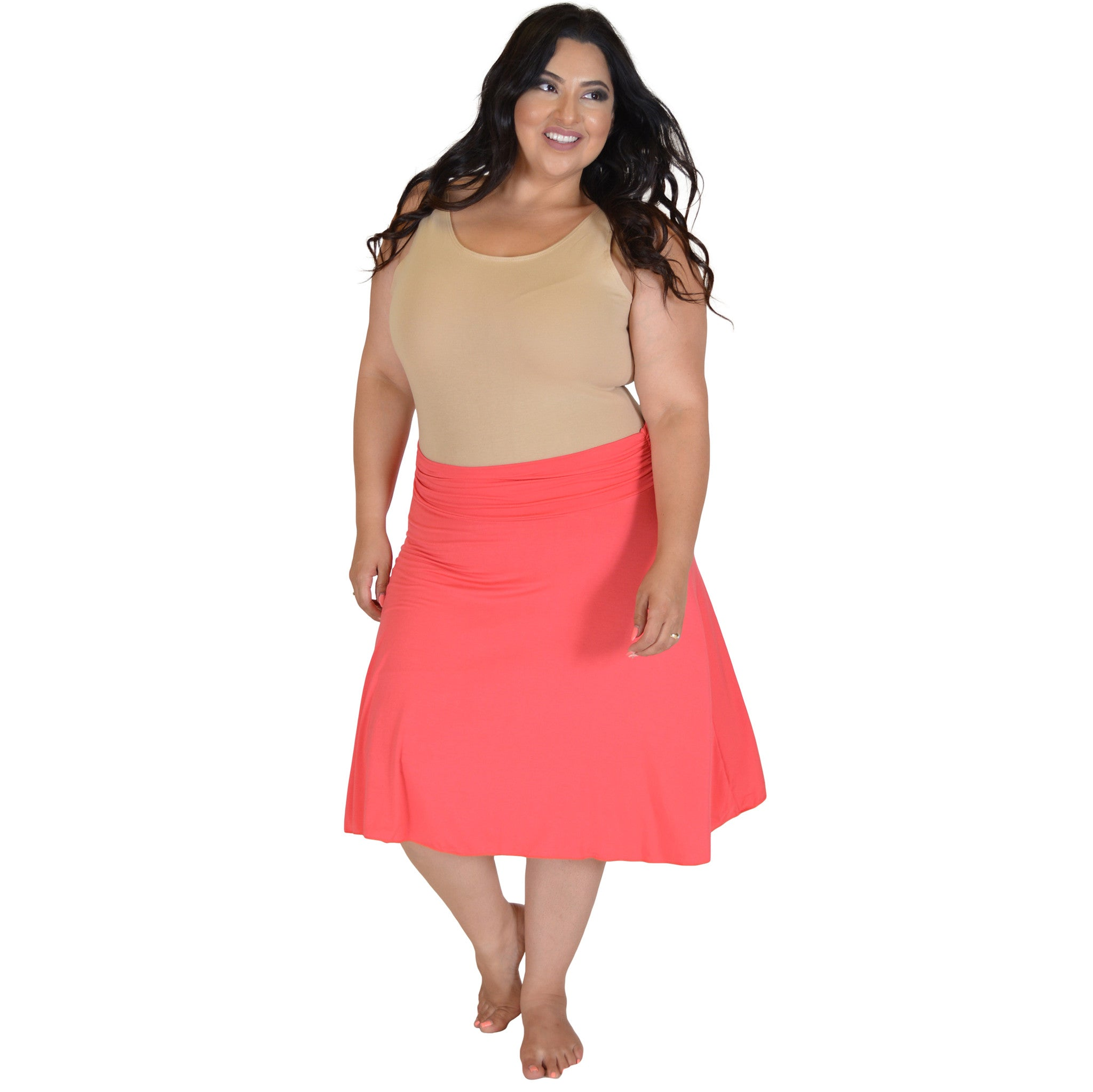 Plus Size Knee Length Flowy Skirt