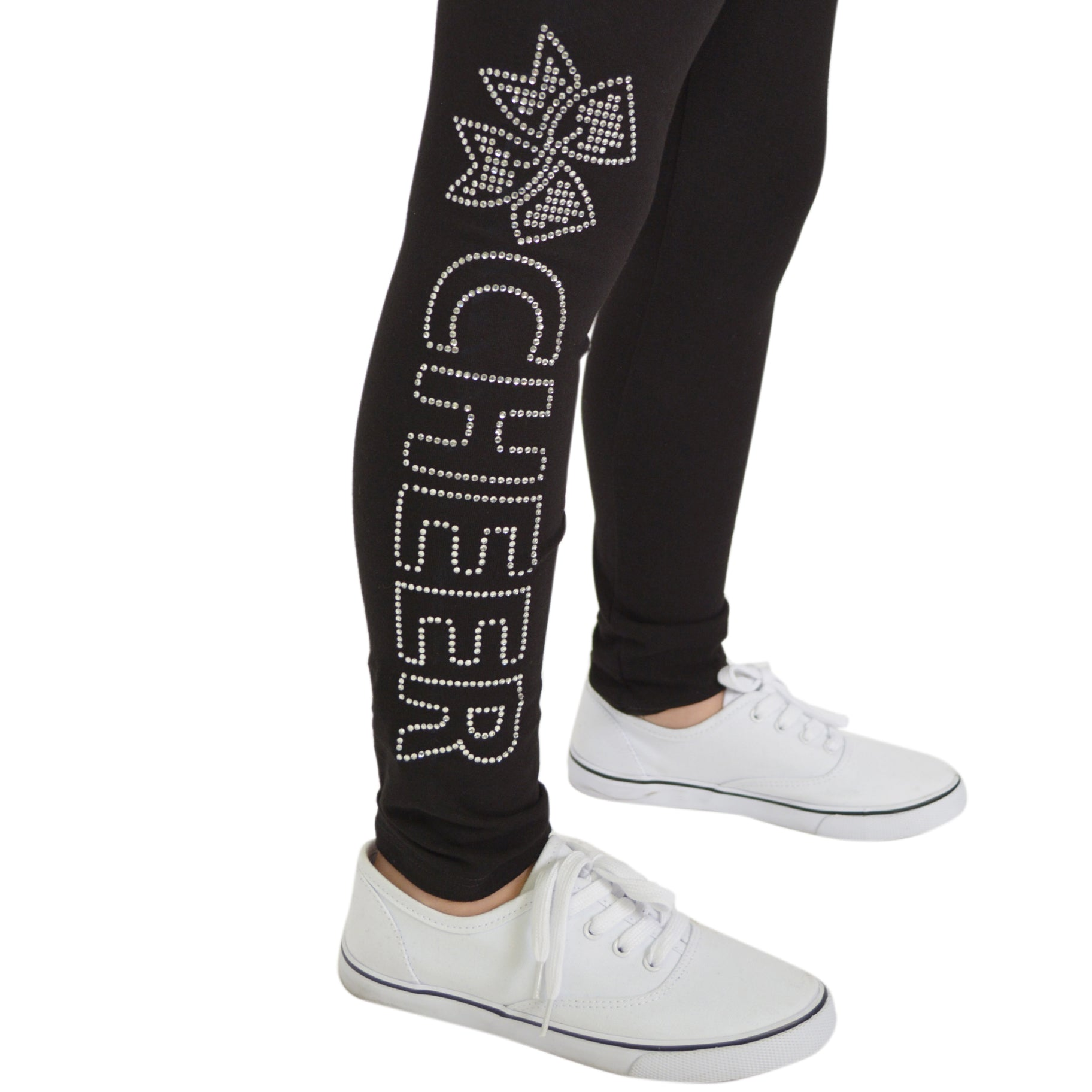 Girl's Cheer Rhinestone Foldover Cotton Leggings